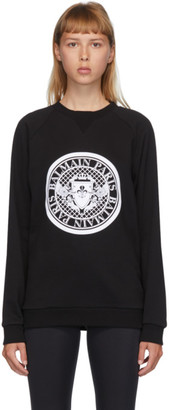 Balmain Black and White Flocked Medallion Sweatshirt
