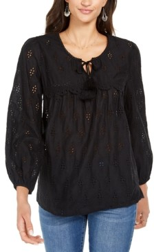 Style&Co. Style & Co Eyelet Tassele Blouse, Created for Macy's