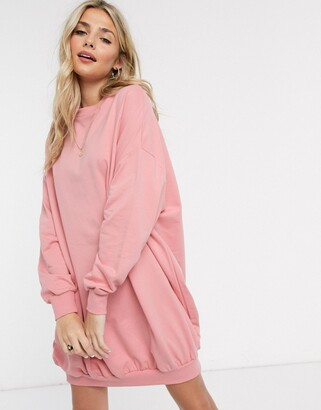 Asos Design DESIGN oversized sweat dress-Pink