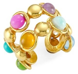 Sylvia Toledano Dots Double 22K Goldplated & Multi-Stone Ring