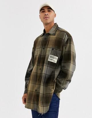 Diesel S-Miner oversized check shirt in black