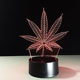VELAN 3D Lamp Maple Leaf Leaves Plant Girls Boys Bithday Gift Acrylic Table Night light Furniture Decorative Illusion colorful 7 color change household Desk Accessories