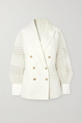 Brunello Cucinelli Bead-embellished Silk Organza-trimmed Linen And Cotton-blend Blazer - Ivory