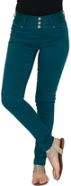 Amethyst Jeans Teal Bodycon Triple-Button Jeggings - Plus
