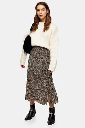 Topshop PETITE Leopard Side Button Pleat Midi Skirt