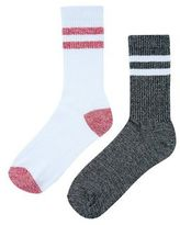 New Look 2 Pack White And Black Contrast Stripe Socks