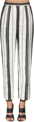 Alexander McQueen Stripe Cotton & Linen Straight Leg Pants
