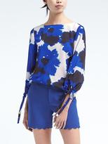 Banana Republic Easy Care Floral Bow-Sleeve Top