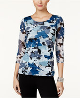 Alfani Petite Printed Tiered Mesh Top, Only at Macy's