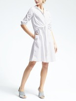 Banana Republic White Tie-Waist Shirtdress