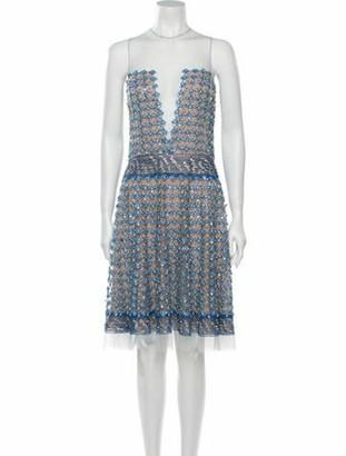 Naeem Khan Striped Knee-Length Dress Blue