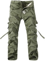 Feoya Men's Outdoor Casual Cotton Overalls Military Cargo Combat Work Trousers