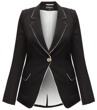 Ann Demeulemeester Contrast-trim Single-breasted Wool-twill Blazer - Black
