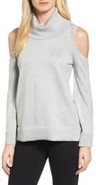 Chaus Women's Metallic Cold Shoulder Cowl Neck Sweater