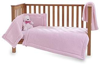 Clair De Lune Honeycomb 3 Piece Cot/Cot Bed Quilt & Bumper Bedding Set - Pink