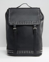 Asos Backpack In Faux Leather With Studs