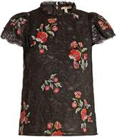 Rebecca Taylor Floral-embroidered guipure-lace top