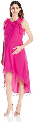 Maternal America Women's Maternity Ruffle Chiffon Dress