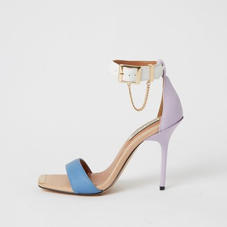 River Island Purple blocked barely there heeled sandals