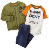 DKNY Toddler Boys) 3-Piece Graphic Sweatshirt & Jeans Set