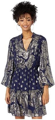 Lilly Pulitzer Joella Silk Dress (True Navy Seagrass Metallic Clip Chiffon) Women's Clothing