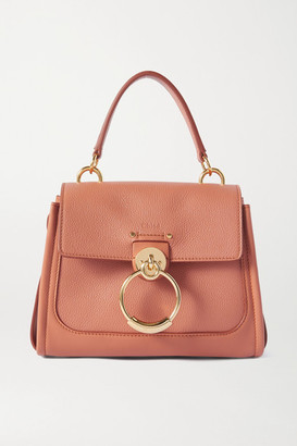 Chloé Tess Day Mini Textured And Smooth Leather Shoulder Bag - Pink