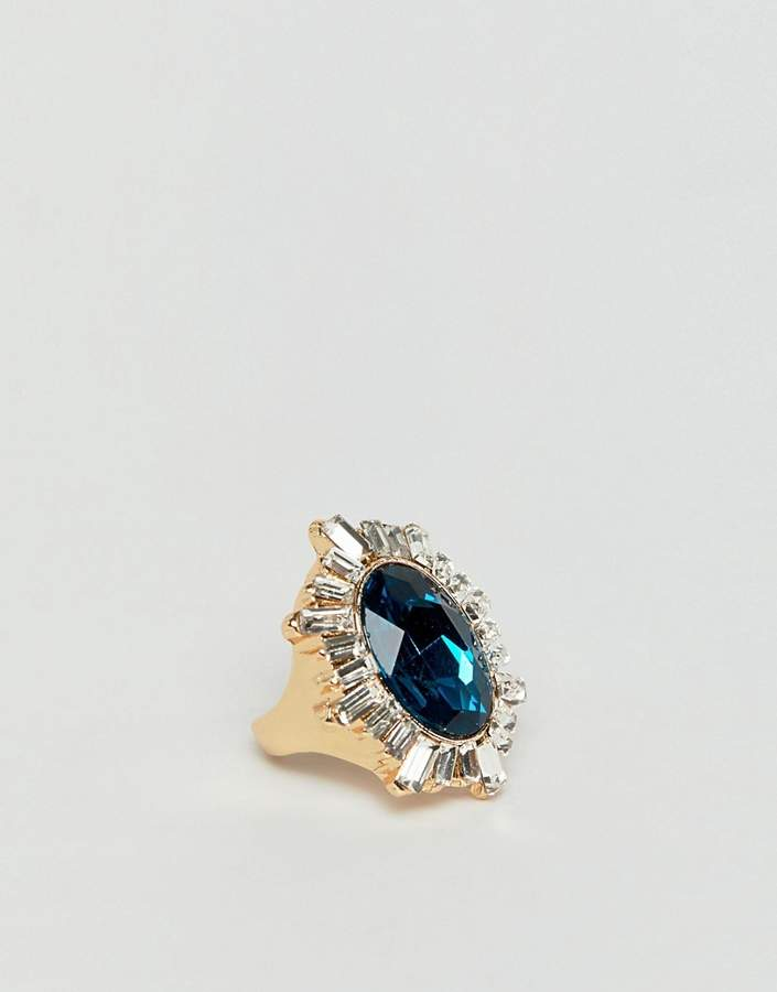 Asos Design DESIGN statement ring with crystals and large jewel in gold