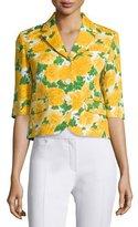 Michael Kors Floral-Print Schoolboy Blazer, White/Daffodil