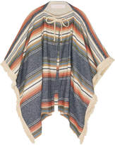 See by Chloe Fringed Striped Canvas Cape - Blue