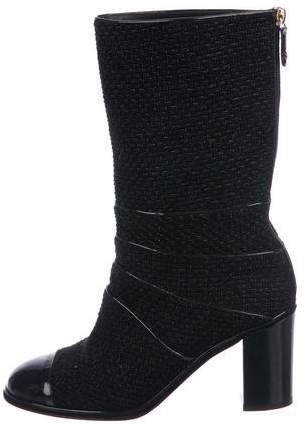 Chanel Tweed Mid-Calf Boots