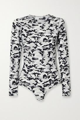 MM6 MAISON MARGIELA Camouflage-print Stretch-jersey Thong Bodysuit - Gray