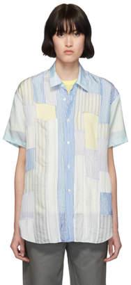 Comme des Garcons Blue Cupra Mix Stripe Short Sleeve Shirt