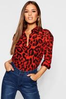 boohoo Petite Chiffon Leopard Print Shirt