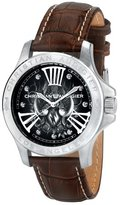 Christian Audigier Unisex ETE-110 Eternity Leather Twin Bird Stainless Steel Watch