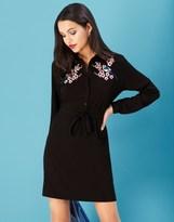 Yumi Oriental Botanical Embroidered Tunic Dress