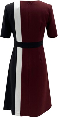 Sandra Darren Short Sleeve Colorblock Fit & Flare Dress