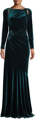 Rickie Freeman For Teri Jon Long-Sleeve Velvet Draped Bow Gown