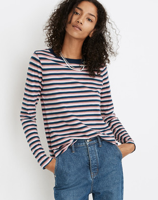 Madewell Whisper Cotton Rib-Crewneck Long-Sleeve Tee in Jessica Stripe