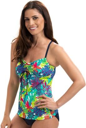 Dolfin Aquashape Print Tie-Front Tankini Swim Top