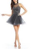 Abbi Vonn by La Femme Mock Neck Beaded Tulle Party Dress