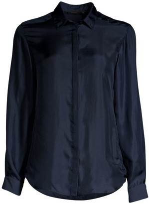 Agnona Silk Twill Button Front Shirt