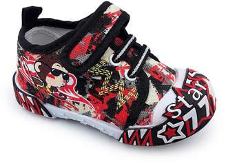 Chulis Footwear Boys' Sneakers BLACK - Black & Red 'Star' Ruby Sneaker - Boys