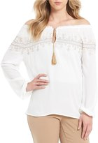 Investments Long Sleeve Embroidered Blouse