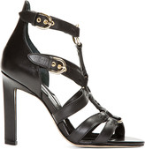 Brian Atwood Black Leather Harness Adrya Heels