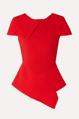 Roland Mouret Bracknell Asymmetric Wool-crepe Peplum Top - Red