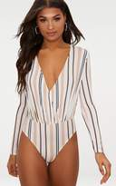 PrettyLittleThing Nude Slinky Stripe Long Sleeve Thong Bodysuit