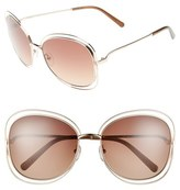 Chloé Women's 'Carlina' 60Mm Oversize Sunglasses - Rose Gold/ Brown