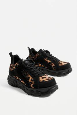 Buffalo David Bitton Corin Leopard Print Trainers - brown UK 3 at Urban Outfitters