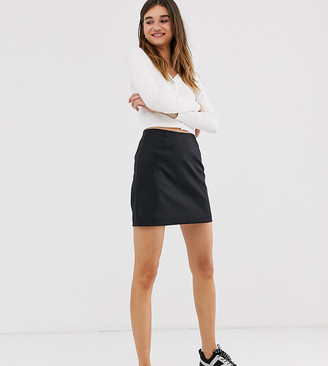 Monki satin mini skirt in black