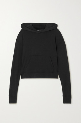 James Perse Cropped Cotton-jersey Hoodie - Black